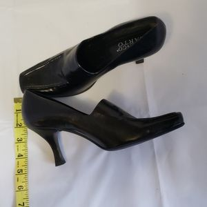 FRANCO SARTO BLACK SQUARE TOE HEELS, SZ 6 1/2